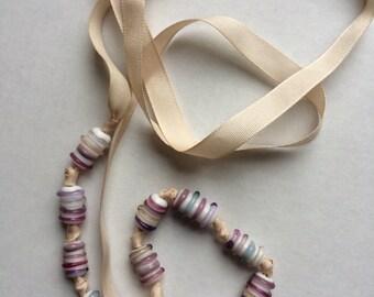 Metal Free Ribbon Necklace, Lampwork Handmade Czech Glass Beads, Rose & Pink