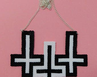 Black and White Pixel Inverted Cross Necklace