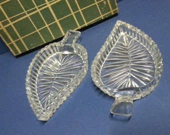 Pair of Vintage Cut Glass Leaf Pin Dishes