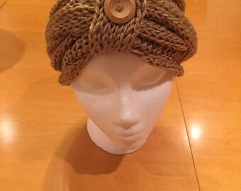 Handmade Beige Knit Head Wrap