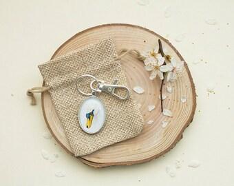 Mute swan keyring, swan watercolour print keychain, bird keyring, swan artwork, animal painting keychain, Bird painting, nature lover gift