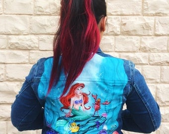 Little Mermaid Part of Your World Hand painted Jean Jacket
