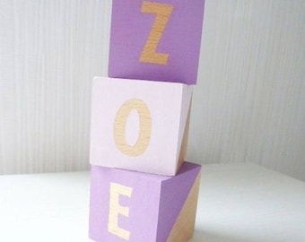 Wooden Letter Blocks Lettered Wooden Blocks Personalised Wooden Cubes Bedroom Decor Gift Idea Childs Gift Hand Painted