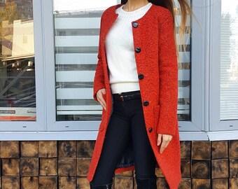Boucle warm winter coat