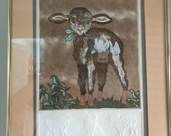 "Adorable Signed, Numbered ""Little Lambs"" Print by Mary Dinkins"