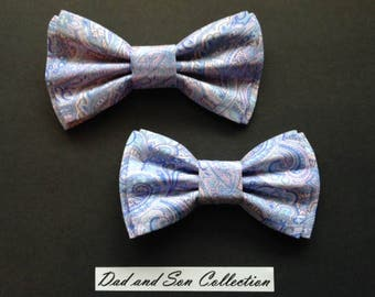 Dad and Son Bow Ties, Lavender Paisley Bow Ties,Father Son Bow Ties,Mens Bow Tie, Groomsmen Bow Tie,Ring Bearer Bow Tie, Boys Bow Tie  DS674