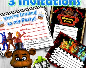 Five Nights at Freddy's Invitations for Birthday's or any Party!