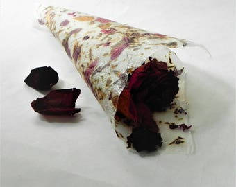 Rose petals hand made paper, Wedding paper cones, favors, rose flower paper, floral paper with rose, dried rose petals, Eco friendly paper