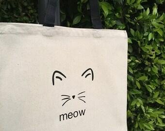 Meow Cat Canvas Market Tote Bag