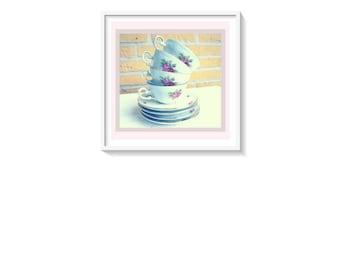 Vintage Tea Cups Printable Art Print, Shabby Chic Tea Cups Poster, Printable Tea Cup Art, Kitchen Wall Art, Tea Cup Wall Art, Tea Cup Print