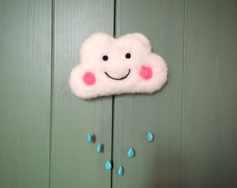 nursery decor mobile needle felted baby mobile happy cloud with glass beads raindrops nursery mobile wall hanging baby shower gift