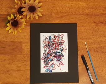 Flower, Sugarskull art, 5x7 print of original watercolor and ink, hippie sugar skull