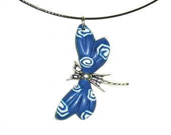 Dragonfly necklace. Summer set, blue necklace, pendant polymer clay, Bisutería artesanal