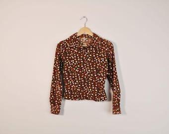 90s Corduroy Shirt, Vintage Floral Print Top, 90s Soft Grunge Shirt, Long Sleeve Button Up, Collared Shirt, 90s Blouse, Flower Print Shirt