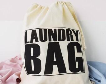 Home And Travel Laundry Bag, Big text Laundry Bag, Drawcord Cotton Bag, Kids Room Storage Bag, 100% Cotton