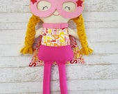 superhero, super doll, handmade doll, cloth doll, cape, mask, girl