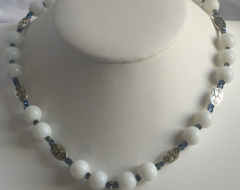 Religious white glass pearls necklace