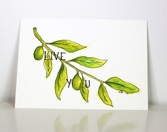 Olive You ORIGINAL 5x7 Watercolor Painting