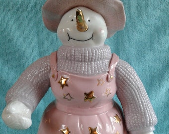 Adorable Snow WOMAN in pink
