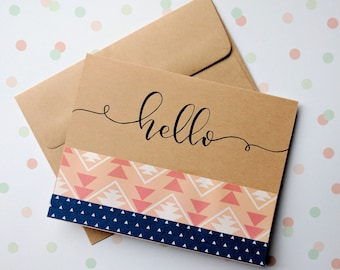 Hello greeting card hand lettered kraft paper card envelope included A2 size 4.25in x 5.5in
