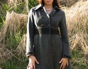 Upcycling gray wool coat with Black Lace