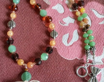Upcycled Vintage Elements:  BAKELITE Pendant Beaded Necklace, Green, Brown, Gold