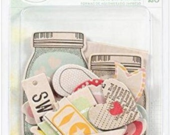 Dear Lizzy -  Embellishments- Printed Chipboard Shapes
