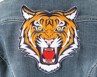 Tiger patch Biker patch Embroidered patch Iron on patch Large patch Bag patch Patches for jackets Animal patch Retro patch Patch badge 022