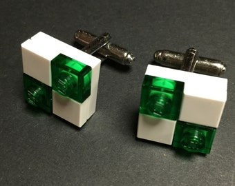 Lego cuff links - White & Green Translucent Checkers