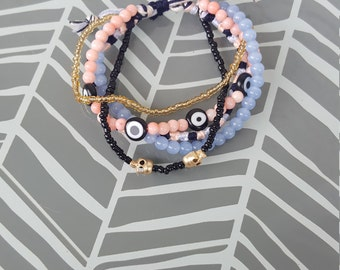 Adjustable Multistrand Bracelet - Pink and Periwinkle