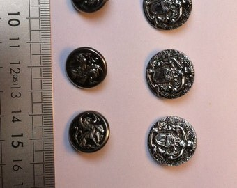 set of 6 silver metal buttons