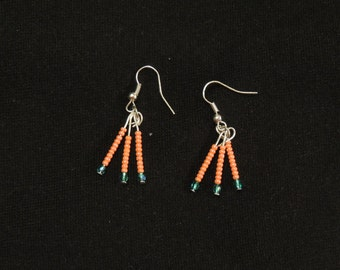Coral and Turquoise Sparkler Earrings