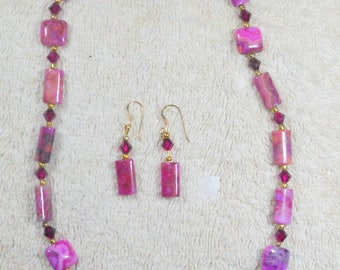 Pink Jasper Necklace & Earrings