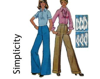 Vintage 70's Sewing Pattern - High Waist  Wide Leg Flares & Straight Leg Pants - Simplicity 6108 Miss Size 14 Waist 71cm - 1970's Fashion