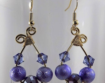 Swarovski crystals,sparkling, purple, lavender, gold, wire worked,