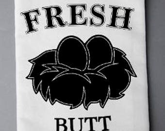 Farm Fresh Butt Nuggets Flour Sack Towel, Farmhouse Decor, Kitchen Towel, Flour Sack