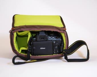 Shockproof Padded Insert - DSLR Camera Case - Camera Bag Partition - Protection Case - Photo Bag Insert - JuCase Brown/Green
