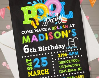 POOL PARTY Invitation Swimming Pool Birthday Party Chalkboard Pool Party Birthday invitation Pool Party Invite Swim Party invitation