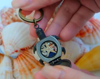 Turtle keychain, Sea turtle, Sea turtle keychain, Sea animal keychain, Sea creature keychain, Tortoise keychain, Sea themed keychain.