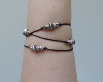 Lily of the Valley Silver Beaded Black Wrap Bracelet