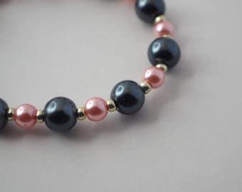 Pink and Black Child's Bracelet