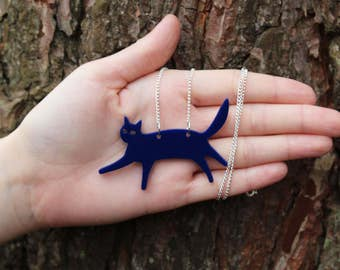"Navy Blue Laser Cut Acrylic Cat Necklace 20"" Silver Chain"