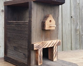 Rustic Birdhouse Bird Feeder natural habitat handmade in CA!