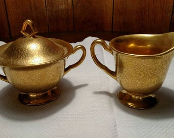 Gold Cream and Sugar Set