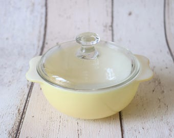 Mini Retro Yellow Pyrex Dish With Lid