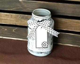 Painted Mason Jar - Gift with Tag - Vase - Centerpiece - Black and White - Shabby Chic - Repurposed Atlas Mason Jar