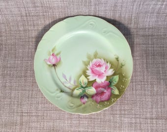 "Vintage Lefton Green Heritage Floral Roses 7 1/4"" Salad Plate Marked NE 3086"