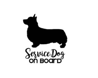 Service Dog on Board   Pembroke Welsh Corgi   4in Vinyl Decal   ICE Sticker   In Case of Emergency