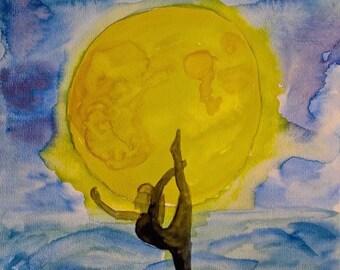 Full Moon Dancer Yoga Pose Art Print