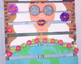 Hand painted 'Love Her' Earth Pallet